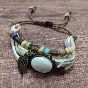 Boho feather beaded stack bracelet